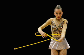 SYDNEY, AUSTRALIA - JANUARY 15:  Jaelle Cohen of Australia performs a routine during Rhythmic Gymnastics on day two of the Australian Youth Olympic Festival at the Sydney Olympic Park Sports centre on January 15, 2009 in Sydney, Australia.  (Photo by Mark