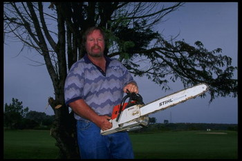 7 Aug 1995:  Craig Stadler poses with chainsaw at Torrey Pines Golf Course in San Diego, California. Mandatory Credit: Stephen Dunn  /Allsport
