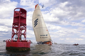 BOSTON - APRIL 26:  In this handout image provided by Ericsson Racing Team,  Ericsson 4 crosses the finish line to win the sixth leg of the Volvo Ocean Race from Rio De Janeiro and Boston on April 26, 2009 in Boston, Massachusetts. (Photo by Oskar Kihlbor