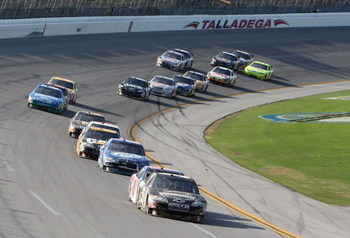 TALLADEGA, AL - APRIL 26:  Ryan Newman, driver of the #39 Stewart Haas Racing Chevrolet, leads a group of cars during the NASCAR Sprint Cup Series Aaron's 499 at Talladega Superspeedway on April 26, 2009 in Talladega, Alabama.  (Photo by Christian Peterse