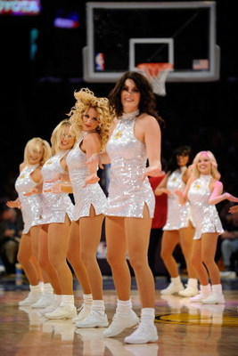 LOS ANGELES, CA - APRIL 19:  The Lakers Girls perform during a break in the game between the Los Angeles Lakers and the Utah Jazz in Game One of the Western Conference Quarterfinals during the 2009 NBA Playoffs at Staples Center on April 19, 2009 in Los A