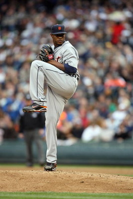 SEATTLE - APRIL 18:  Edwin Jackson #36 of the Detroit Tigers pitches during the game against the Seattle Mariners on April 18, 2009 at Safeco Field in Seattle, Washington. (Photo by Otto Greule Jr/Getty Images)