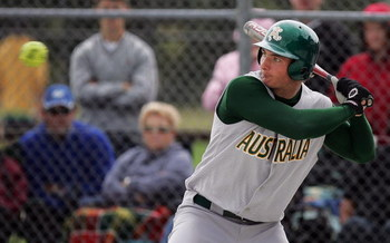 AUCKLAND, NEW ZEALAND - APRIL 13:  Zenon Winters of Australia bats during the ISF Men's Softball World Championships Oceania Qualifying Tournament Final between New Zealand and Australia at Rosedale Park April 13, 2008 in Auckland, New Zealand  (Photo by