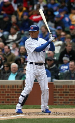 CHICAGO - APRIL 15: Kosuke Fukudome #1 of the Chicago Cubs prepares to hit against the Colorado Rockies on April 15, 2009 at Wrigley Field in Chicago, Illinois. The Rockies defeated the Cubs 5-2. (Photo by Jonathan Daniel/Getty Images)