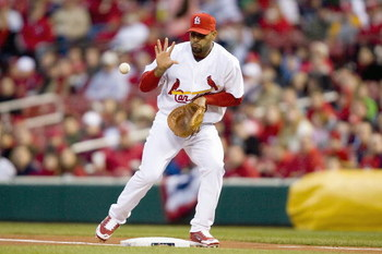 ST. LOUIS, MO - APRIL 1: Albert Pujols #5 of the St. Louis Cardinals fields the ball against the Colorado Rockies during Opening Day on April 1, 2008 at Busch Stadium in St. Louis, Missouri.    (Photo by Dilip Vishwanat/Getty Images)