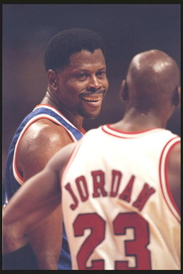 6 Dec 1995:  Center Patrick Ewing of the New York Knicks smiles at guard Michael Jordan of the Chicago Bulls at the United Center in Chicago, Illinois.  The Bulls won the game 101-94. NOTE TO USER:  It is expressly understood that the only rights Allsport