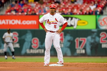 ST. LOUIS - APRIL 9: Albert Pujols #5 of the St. Louis Cardinals stands at second base during the MLB game against the Pittsburgh Pirates on April 9, 2009 at Busch Stadium in St. Louis, Missouri.  The Cardinals defeated the Pirates 2-1.  (Photo by Dilip V