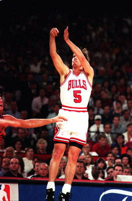18 JUN 1993:  JOHN PAXSON OF THE CHICAGO BULLS HITS A THREE POINTER IN A GAME AGAINST THE SUNS Mandatory Credit: Jonathan Daniel/ALLSPORT