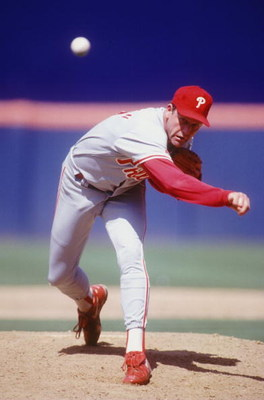 Pitcher Larry Andersen of the Philadelphia Phillies pitches in a game at Veterans Stadium in Philadelphia on August 15th, 1993. Mandatory Credit: Gary Newkirk/ALLSPORT