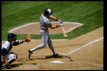 1990:  Pat Borders of the Toronto Blue Jays swings at the ball during a game. Mandatory Credit: T. G. Higgins  /Allsport