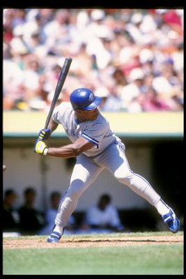 1 Sep 1993:  Outfielder Rickey Henderson of the Toronto Blue Jays stands in the batters box during a game against the Oakland Athletics at the Oakland Coliseum in Oakland, California.  Mandatory Credit: Otto Greule  /Allsport