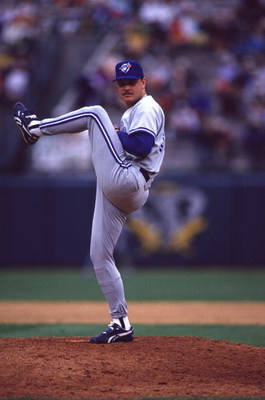 30 May 1993: Duane Ward of the Toronto Bluejays winds up to pitch against the Oakland A''s during their game in Oakland, California.