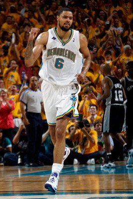 NEW ORLEANS - MAY 03: Tyson Chandler #6 of the New Orleans Hornets celebrates during the game against the San Antonio Spurs in Game One of the Western Conference Semifinals during the 2008 NBA Playoffs at The New Orleans Arena on May 3, 2008 in New Orlean