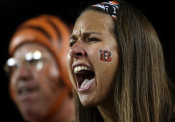 CINCINNATI - OCTOBER 01:  A Cincinnati Bengals fan gives support to her team during the NFL game against the New England Patriots on October 1, 2007 at Paul Brown Stadium in Cincinnati, Ohio.  (Photo by Andy Lyons/Getty Images)