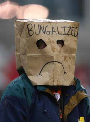 CINCINNATI - NOVEMBER 30:  A football spectator wears a bag over his head during the NFL game between the Baltimore Ravens and the Cincinnati Bengals on November 30, 2008 at Paul Brown Stadium in Cincinnati, Ohio. The Ravens defeated the Bengals 34-3.(Pho
