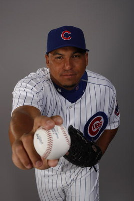 MESA, AZ - FEBRUARY 25:  Carlos Zambrano #38  of the Chicago Cubs poses for a photo during Spring Training Photo Day on February 25, 2008 in Mesa, Arizona.  (Photo by Chris Graythen/Getty Images)
