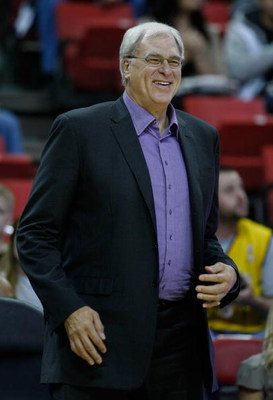 LAS VEGAS - OCTOBER 12:  Los Angeles Lakers head coach Phil Jackson smiles before his team takes on the Sacramento Kings in a preseason game at the Thomas & Mack Center October 12, 2008 in Las Vegas, Nevada. NOTE TO USER: User expressly acknowledges and a