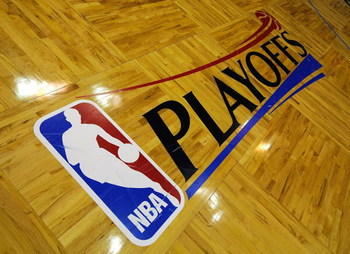 ORLANDO, FL - APRIL 22:  NBA Playoffs signage is seen on the court in Game Two of the Eastern Conference Quarterfinals during the 2009 NBA Playoffs at Amway Arena April 22, 2009 in Orlando, Florida.   NOTE TO USER: User expressly acknowledges and agrees t