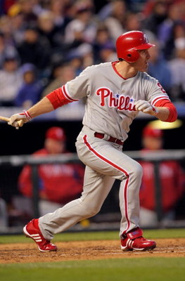 DENVER - APRIL 11:  Chase Utley #26 of the Philadelphia Phillies takes an at abt against the Colorado Rockies during MLB action at Coors Field on April 11, 2009 in Denver, Colorado. The Phillies defeated the Rockies 8-4.  (Photo by Doug Pensinger/Getty Im