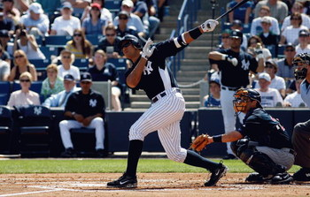 TAMPA, FL - FEBRUARY 28:  Third baseman Alex Rodriguez #13 of the New York Yankees fouls off a pitch against the Minnesota Twins during a Grapefruit League Spring Training game at George M. Steinbrenner Field on February 28, 2009 in Tampa, Florida.  (Phot