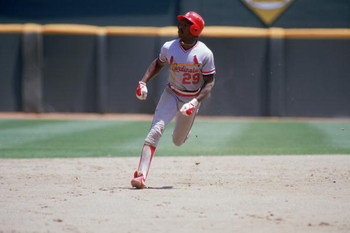 SAN DIEGO - 1985:  Vince Coleman #29 of the St. Louis Cardinals runs between bases during a game against the San Diego Padres in 1985 at Jack Murphy Stadium in San Diego, California.  (Photo by Stephen Dunn/Getty Images)