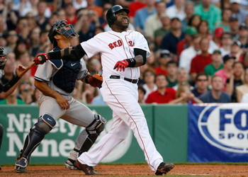 BOSTON - APRIL 25:  David Ortiz #34 of the Boston Red Sox bats against the New York Yankees at Fenway Park on April 25, 2009 in Boston, Massachusetts. (Photo by Jim Rogash/Getty Images)