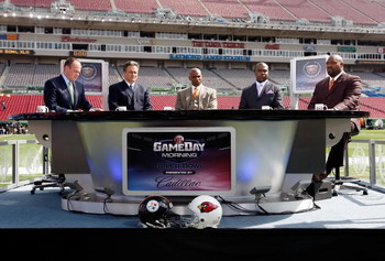 TAMPA, FL - FEBRUARY 01:  (L-R) The NFL Network pregame show with host Rich Eisen, former coach Steve Mariucci, hall of famer Deion Sanders, hall of famer Marshall Faulk and Warren Sapp before Super Bowl XLIII on February 1, 2009 at Raymond James Stadium
