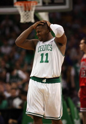 BOSTON - APRIL 28:  Glen Davis #11 of the Boston Celtics reacts after he is hit in the eye in the second half against the Chicago Bulls in Game Five of the Eastern Conference Quarterfinals during the 2009 NBA Playoffs at TD Banknorth Garden on April 28, 2