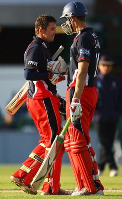 MANCHESTER, ENGLAND - MAY 03:  Paul Horton of Lancashire is congratulated on his century by Mark Chilton during the Friends Provident Trophy match between Lancashire and Derbyshire at Old Trafford on May 3, 2009 in Manchester, England.  (Photo by Matthew