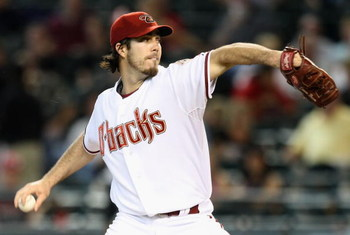 PHOENIX - APRIL 22:  Starting pitcher Dan Haren #15 of the Arizona Diamondbacks pitches against the Colorado Rockies during the game at Chase Field on April 22, 2009 in Phoenix, Arizona. The Diamondbacks defeated the Rockies 2-0.   (Photo by Christian Pet