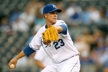 KANSAS CITY, MO - MAY 28:  Zack Greinke #23 of the Kansas City Royals delivers a pitch against the Minnesota Twins on May 28, 2008 at Kauffman Stadium in Kansas City, Missouri. (Photo by G. Newman Lowrance/Getty Images)