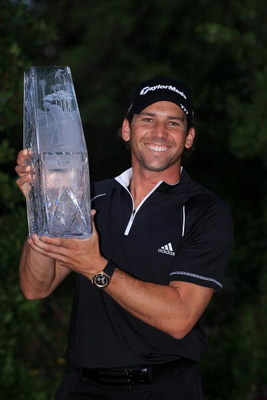 PONTE VEDRA BEACH, FL - MAY 11:  Sergio Garcia of Spain poses with the trophy after winning THE PLAYERS Championship on THE PLAYERS Stadium Course at TPC Sawgrass on May 11, 2008 in Ponte Vedra Beach, Florida.  (Photo by Andy Lyons/Getty Images)