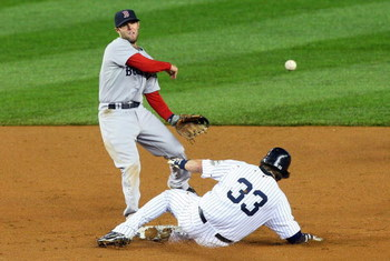 NEW YORK - MAY 04:  Nick Swisher #33 of the New York Yankees is forced out at second base as Dustin Pedroia #15 of the Boston Red Sox tries to complete a double play on May 4, 2009 at Yankee Stadium in the Bronx borough of New York City.  (Photo by Jim Mc