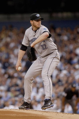 NEW YORK _ JUNE 3:  Roy Halladay #32 of the Toronto Blue Jays delivers a pitch during the game against the New York Yankees on June 3, 2008 at Yankee Stadium in the Bronx borough of New York City. (Photo by: Nick Laham/Getty Images)