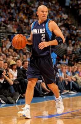 DENVER - MAY 03:  Jason Kidd #2 of the Dallas Mavericks controls the ball against the Denver Nuggets in Game One of the Western Conference Semifinals during the 2009 NBA Playoffs at Pepsi Center on May 3, 2009 in Denver, Colorado. The Nuggets defeated the