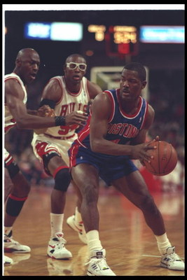 22 Apr 1993:  Guard Joe Dumars of the Detroit Pistons moves the ball during a game against the Chicago Bulls at the United Center in Chicago, Illinois. Mandatory Credit: Jonathan Daniel  /Allsport Mandatory Credit: Jonathan Daniel  /Allsport