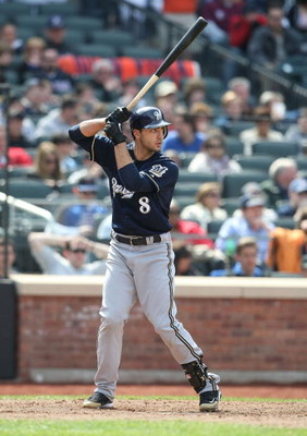 NEW YORK - APRIL 19:  Ryan Braun #8 of the Milwaukee Brewers at bat against the New York Mets at Citi Field on April 19, 2009 in the Flushing neighborhood of the Queens borough of New York City.  (Photo by Nick Laham/Getty Images)