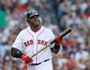 BOSTON - APRIL 25: David Ortiz #34 of the Boston Red Sox reacts against the New York Yankees at Fenway Park on April 25, 2009 in Boston, Massachusetts. (Photo by Jim Rogash/Getty Images)