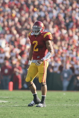 PASADENA, CA - JANUARY 1:  Taylor Mays #2 of the USC Trojans looks on against the Penn State Nittany Lions on January 1, 2009 at the Rose Bowl in Pasadena, California.  USC won 38-24.  (Photo by Jeff Golden/Getty Images)