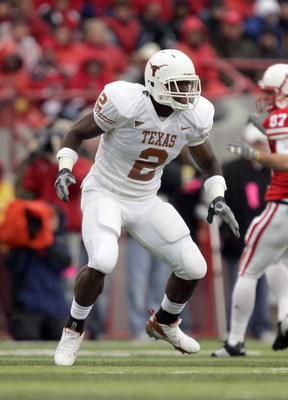 LINCOLN, NE - SEPTEMBER 21: Sergio Kindle #2 of the Texas Longhorns moves on the field during the game against the Nebraska Cornhuskers on October 21, 2006 at Memorial Stadium in Lincoln, Nebraska. The Longhorns defeated the Cornhuskers 22-20. (Photo by B
