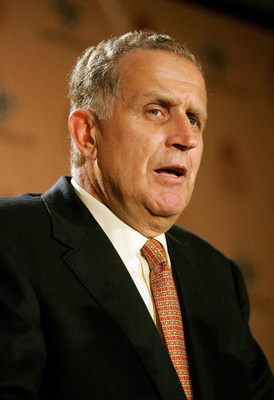 NEW ORLEANS - SEPTEMBER 25:  Former NFL Commissioner Paul Tagliabue speaks to the media prior to the Monday Night Football game between the Atlanta Falcons and the New Orleans Saints on September 25, 2006 at the Superdome in New Orleans, Louisiana.  Tonig