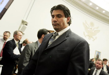 WASHINGTON - MARCH 17:  Former Oakland Athletic and Texas Ranger Jose Canseco departs the committee room at the end of testimony March 17, 2005 to a House Committee session that is investigating Major League Baseball effort to eradicate steroid use in Was