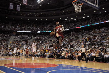 AUBURN HILLS, MI - APRIL 26:  LeBron James #23 of the Cleveland Cavaliers goes for the dunk against the Detroit Pistons in Game Four of the Eastern Conference Quarterfinals during the 2009 NBA Playoffs at the Palace of Auburn Hills on April 26, 2009 in Au