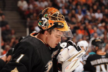 ANAHEIM, CA - APRIL 21:  Jonas Hiller #1 of the Anaheim Ducks looks on against the San Jose Sharks during Game Three of the Western Conference Quarterfinal Round of the 2009 Stanley Cup Playoffs at Honda Center on April 21, 2009 in Anaheim, California. (P