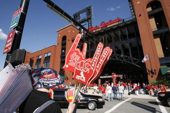 ST. LOUIS - APRIL 1:  A vendor sells foam fingers and pennants outside Busch Stadium before the St. Louis Cardinals game against the New York Mets during their Opening Day game on April 1, 2007 at Busch Stadium in St. Louis, Missouri.  The Mets beat the C