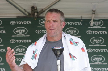 HEMPSTEAD, NY - AUGUST 09:  Quarterback Brett Favre #4 of the New York Jets speaks to the media in his first day of Jets Training Camp at the team's facilities on August 9, 2008 in Hempstead, New York.  (Photo by Mike Stobe/Getty Images)