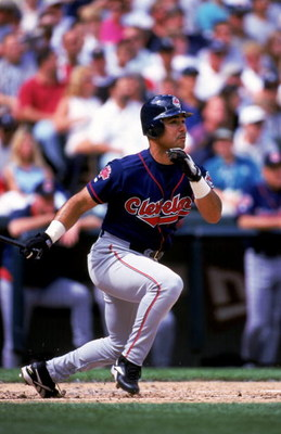 21 Aug 1999: Carlos Baerga #9 of the Cleveland Indians drops his bat to run during the game against the Seattle Mariners at the Safeco Field in Seattle, Washington. The Indians defeated the Mariners 6-0. Mandatory Credit: Otto Greule Jr.  /Allsport