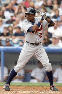 NEW YORK - AUGUST 19: Curtis Granderson #28 of the Detroit Tigers stands ready at bat against the New York Yankees on August 19, 2007 at Yankee Stadium in the Bronx borough of New York City. (Photo by Nick Laham/Getty Images)