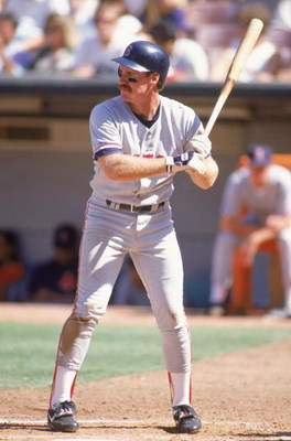 ANAHEIM, CA - 1991:  Wade Boggs #26 of the Boston Red Sox bats during an MLB game against the California Angels circa 1991 at Anaheim Stadium in Anaheim, California. (Photo by Ken Levine/Getty Images)