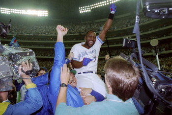 23 Oct 1993:  Firrst baseman Joe Carter of the Toronto Blue Jays celebrates after the World Series against the Philadelphia Phillies at the Toronto Sky Dome in Toronto, Canada. Mandatory Credit: Rick Stewart  /Allsport